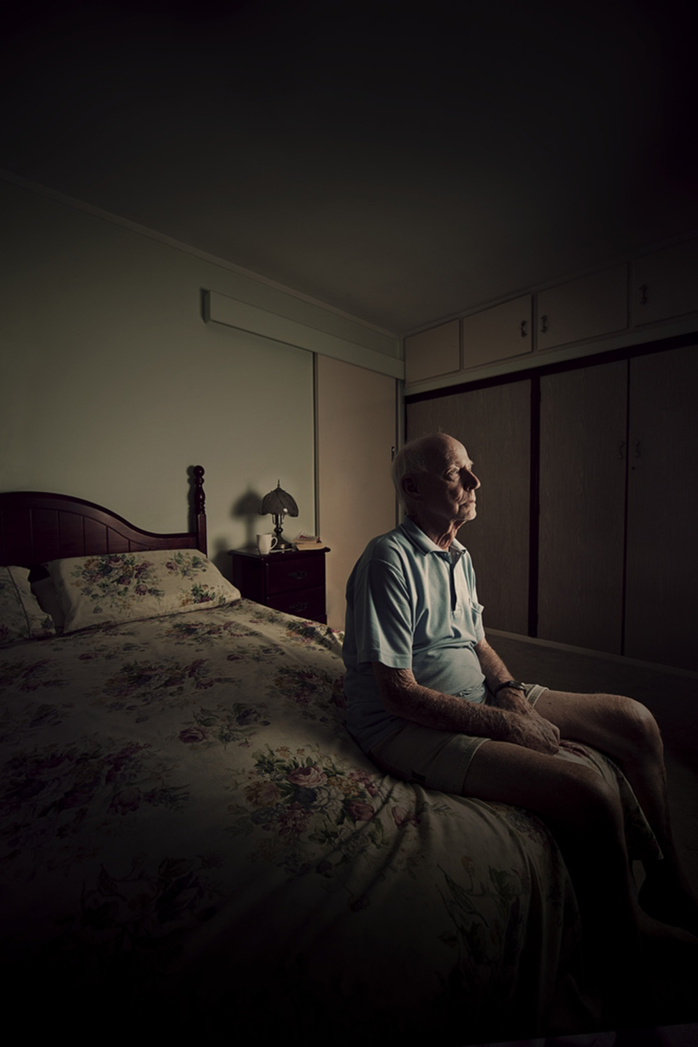 image of AARONTAIT-COPYRIGHTED-2014-108 LONELY OLD MAN ADVERTISING ELDER ABUSE