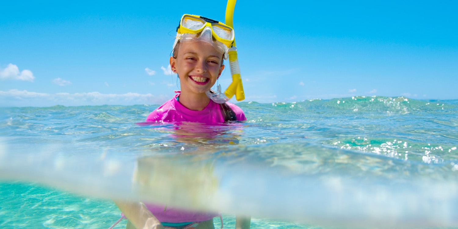 image of AARONTAIT COPYRIGHTED 2014 143 ADVERTISING LIFESTYLE BEACH ISLAND LIFE GIRL SNORKELLING UNDERWATER CLEAR NATURAL PINK SMILE HAPPY WET NATURAL LIGHT
